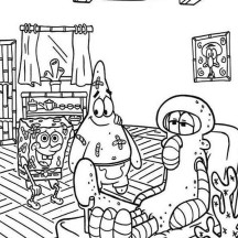 Squidward is Injured Coloring Page