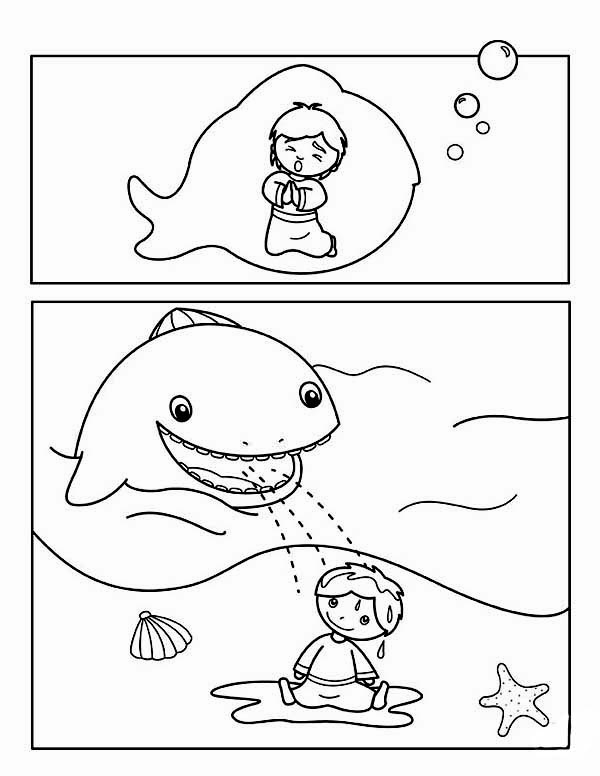 Story Jonah and the Whale for Kids Coloring Page