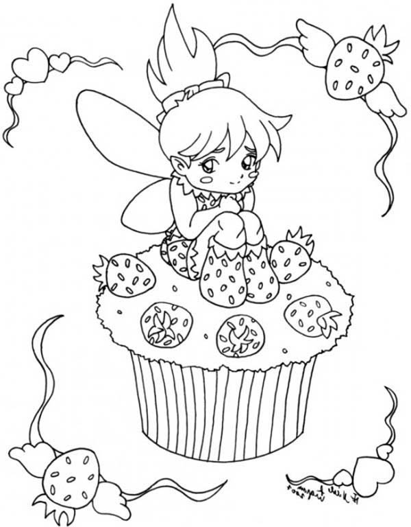 Strawberry Cupcake Fairy Coloring Page