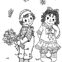 Surprise for Raggedy Ann from Andy in Raggedy Ann and Andy Coloring Page