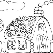 Tasty Cookie Gingerbread House Coloring Page