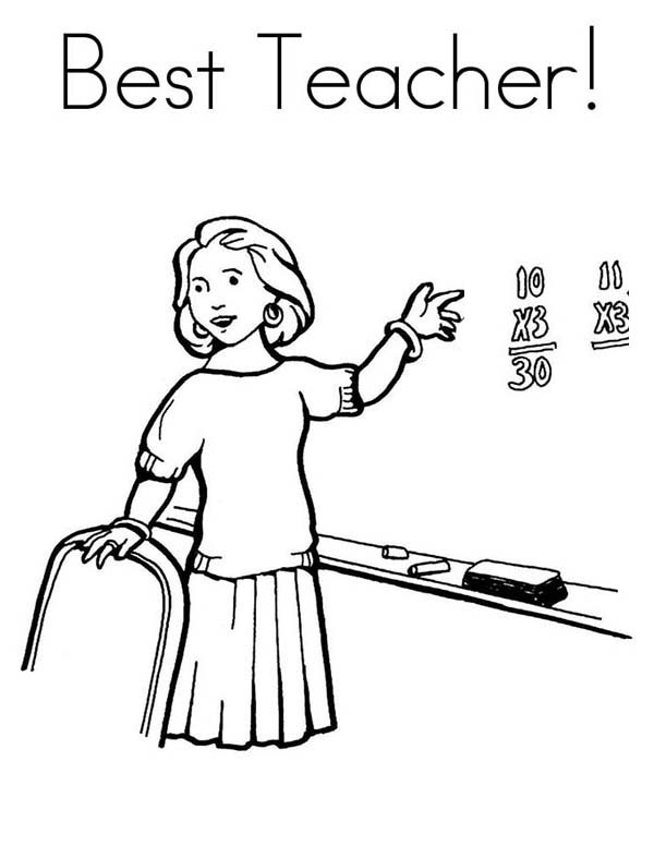 Teaching in Front of Class in Community Helpers Coloring Page