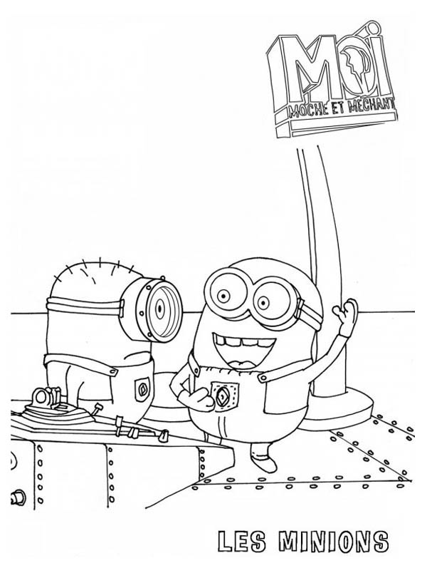 The Awesome Minions in Despicable Me Coloring Page
