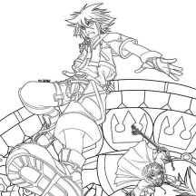 The Fight of Roxas vs Sora Coloring Page