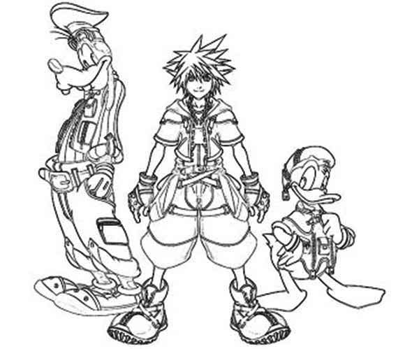 The Journey of Sora and Goofy and Donald Duck Coloring Page