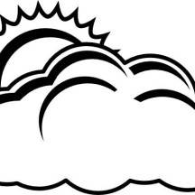 The Sun Hiding Behind Clouds Coloring Page