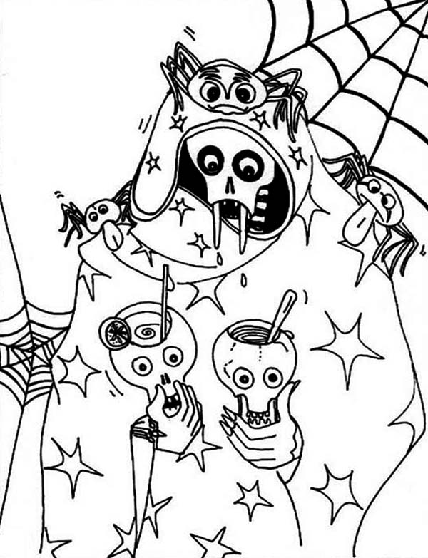 Thirsty Skeleton Drink Coloring Page