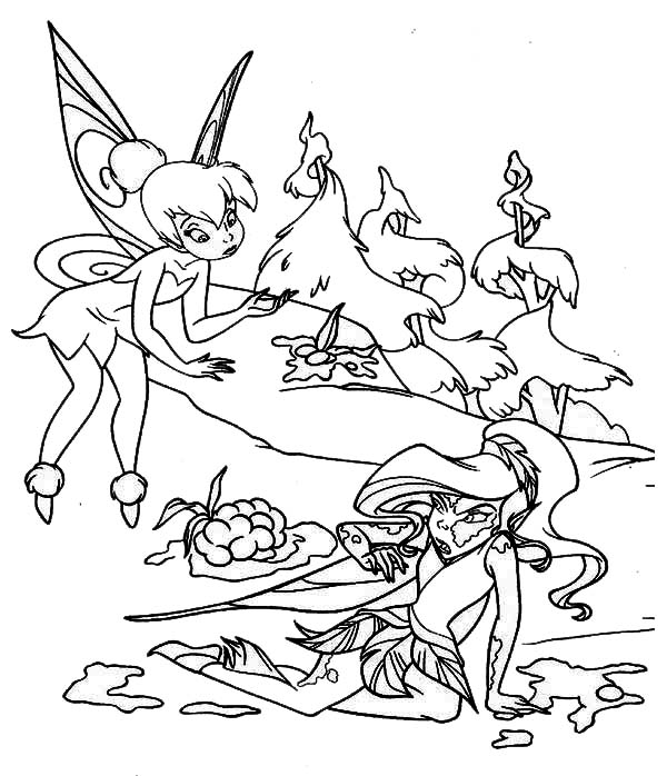 Tinkerbell Asking Apologize to Vidia in Pixie Coloring Page