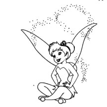 Tinkerbell Laughing Showered with in Pixie Coloring Page