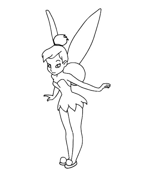 Tinkerbell Ready to Fly in Pixie Coloring Page
