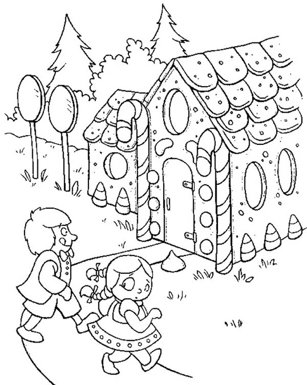 Two Kids Going to Gingerbread House Coloring Page