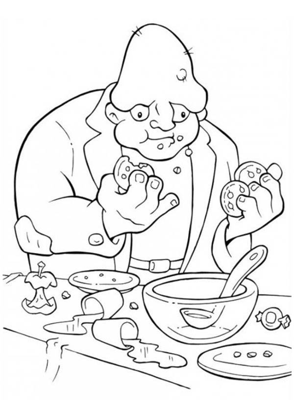 Ugly Monster Eating Cookies in Funschool Halloween Coloring Page