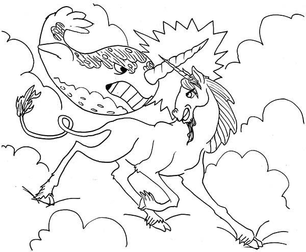 Unicorn and Narwhal Fight in the Sky Coloring Page