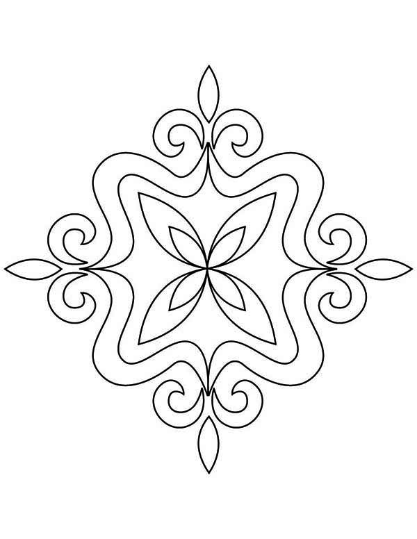 Welcoming Hindu Deities with Rangoli Coloring Page