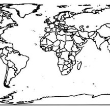 World Map with Countries Black and White Coloring Page