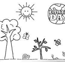 A Kinds Drawing About Earth Day Coloring Page