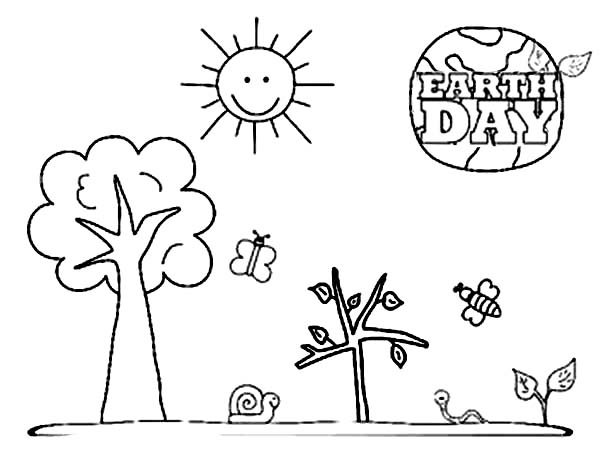 A Kinds Drawing About Earth Day Coloring Page Netart