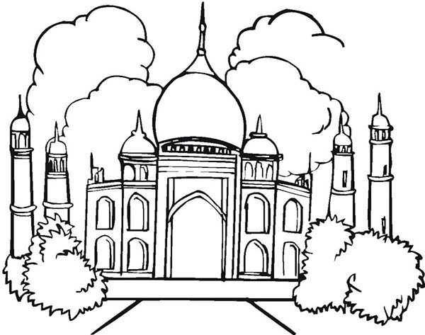 Amazing Architecture of Taj Mahal Coloring Page