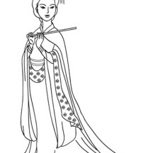 An Ancient China Drawing of a Lady Coloring Page