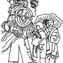 Ancient China Celebration with Dragon Parade Coloring Page