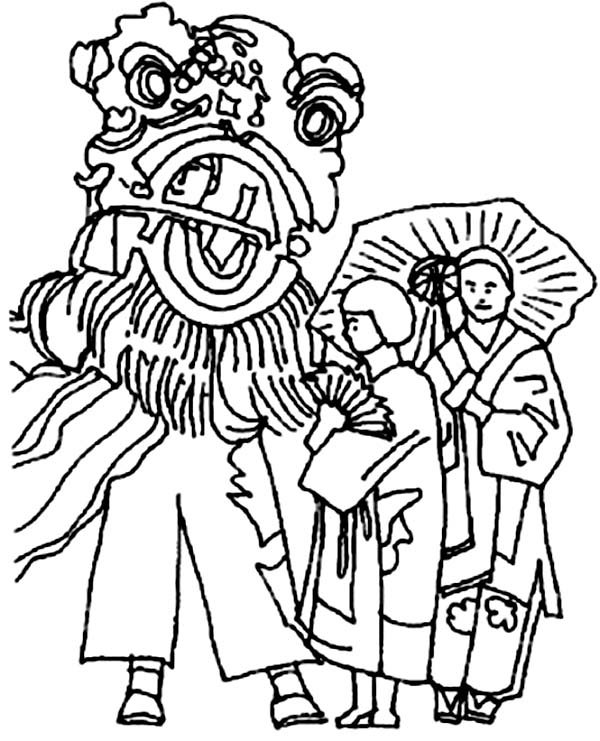 Ancient China Celebration with Dragon Parade Coloring Page ...