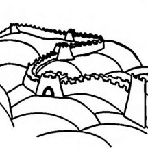 Ancient China Great Wall Coloring Page