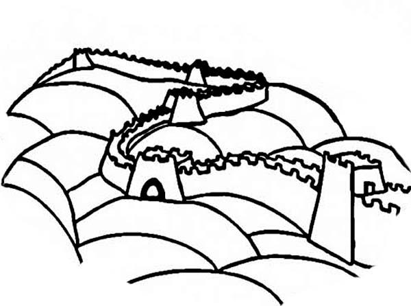 Ancient China Great Wall Coloring Page