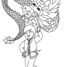 Ancient China Tradition of Celebrating Lunar Year Coloring Page