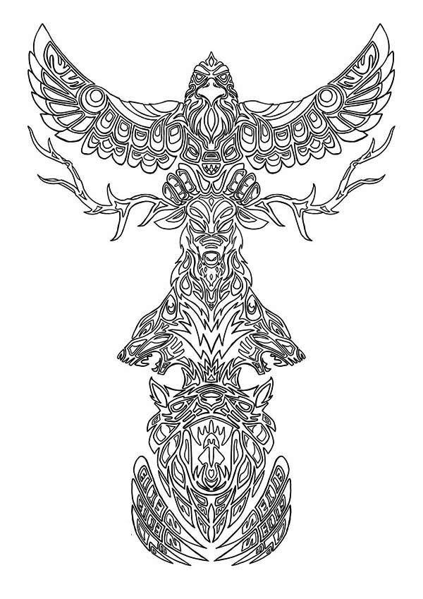 Animal Spirits Totem Poles Coloring Page