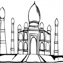 Awesome Picture of Taj Mahal Coloring Page
