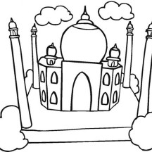 Beautiful View of Taj Mahal Coloring Page