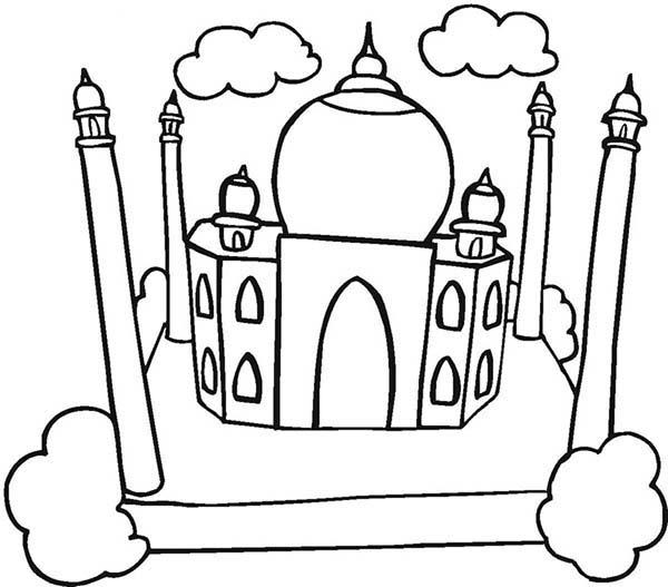 Beautiful View of Taj Mahal Coloring Page