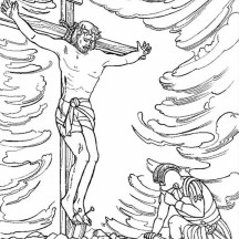 Crucify of Jesus in Jesus Resurrection Coloring Page