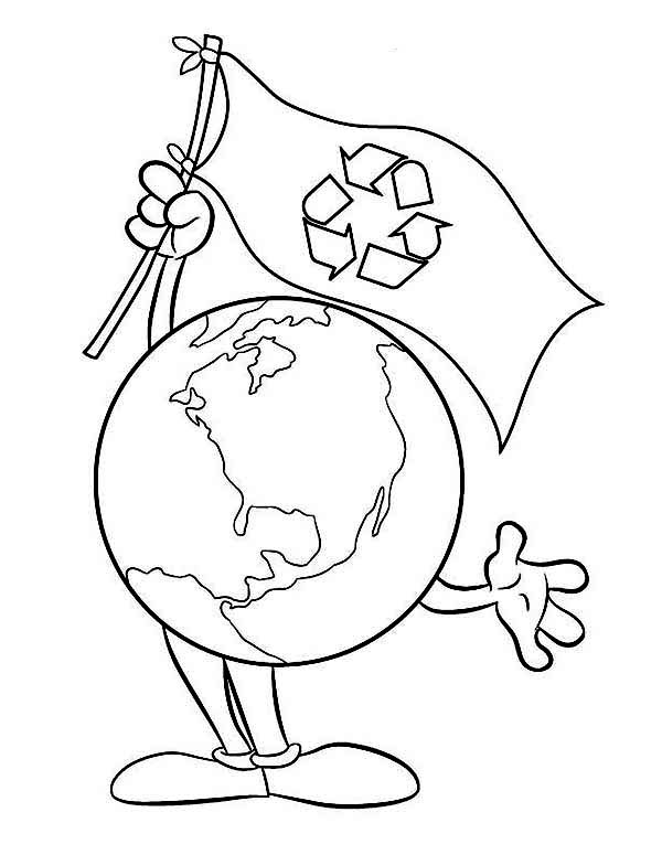 Go Recycling on Earth Day Coloring Page