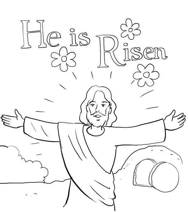 He is Risen in Jesus Resurrection Coloring Page