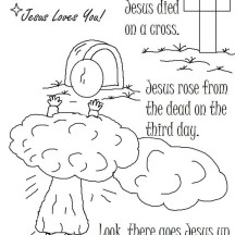 Jesus Died on a Cross and There Goes Jesus Resurrection Coloring Page