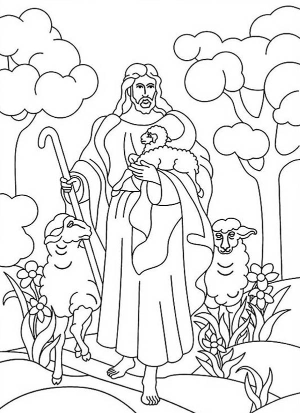 Jesus Resurrection in Heaven with Lambs Coloring Page