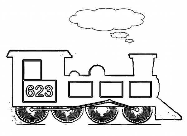 Kids Drawing of Steam Train Coloring Page