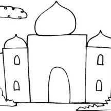 Kids Drawing of Taj Mahal Coloring Page