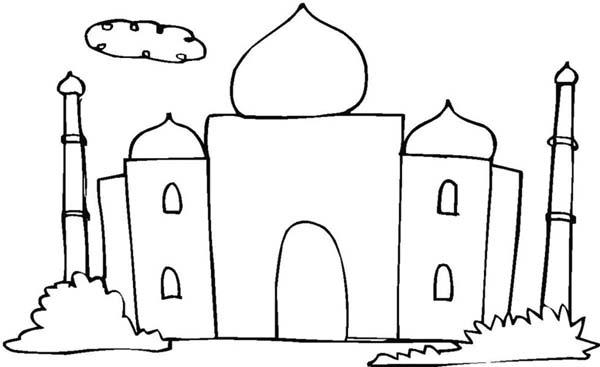 Kids Drawing of Taj Mahal Coloring
