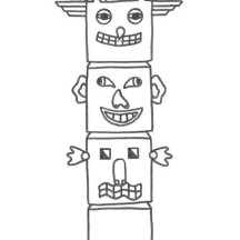 Kids Drawing of Totem Poles Coloring Page