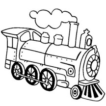 Locomotive of Steam Train Coloring Page