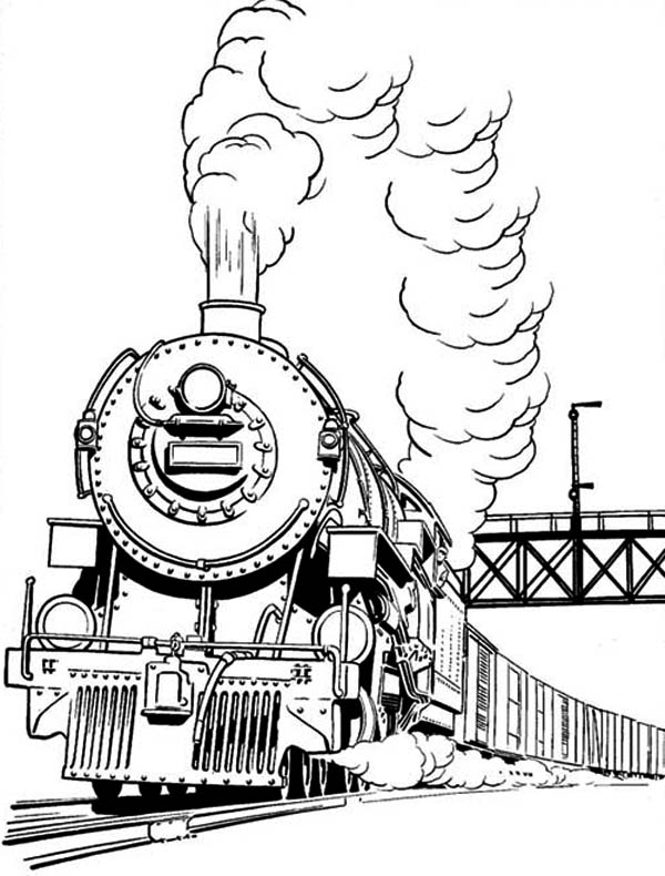 Long Smoke of Steam Train Coloring Page