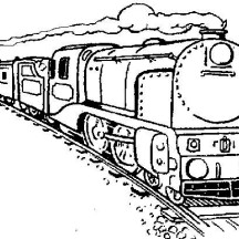 Long Steam Train Coloring Page