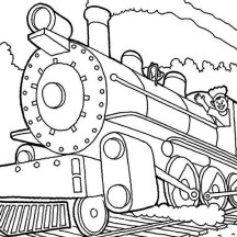Machinist of Steam Train Coloring Page