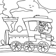 Machinist on Steam Train Coloring Page