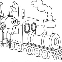 Mole in Steam Train Coloring Page