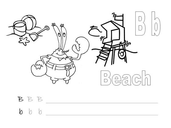 Mr Krabs Learn Alphabet Coloring Page