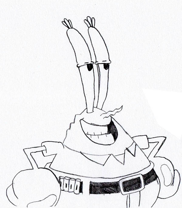 Mr Krabs Look Really Relieved Coloring Page