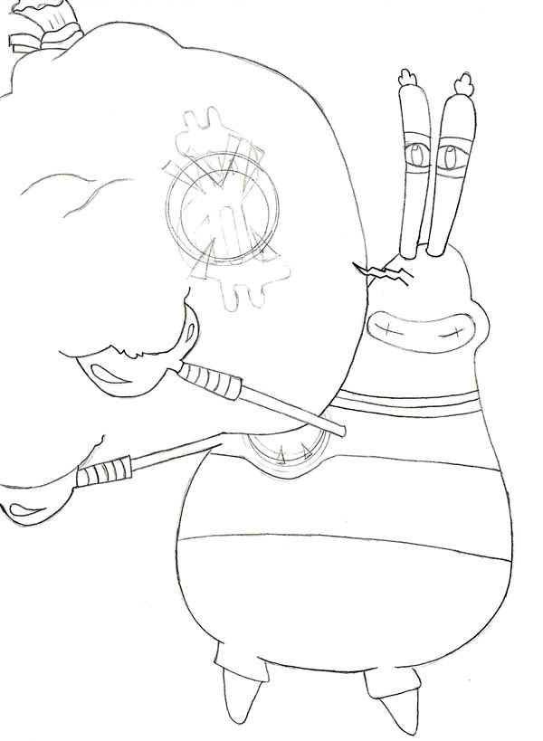 Mr Krabs Really Love Money Coloring Page